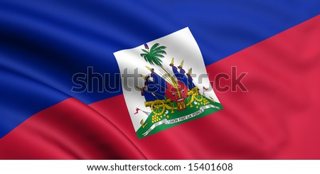 3d rendered and waving flag of haiti - stock photo