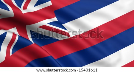 3d rendered and waving flag of hawaii - stock photo