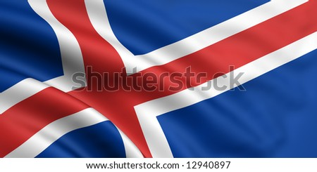 3d rendered and waving flag of iceland