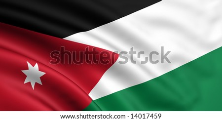 3d rendered and waving flag of jordan - stock photo