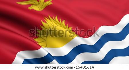 3d rendered and waving flag of kiribati - stock photo