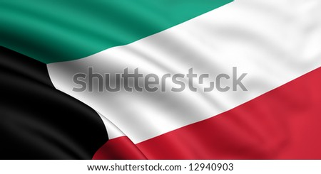 3d rendered and waving flag of kuwait - stock photo