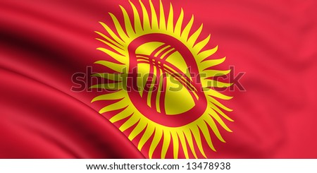3d rendered and waving flag of kyrgyzstan - stock photo