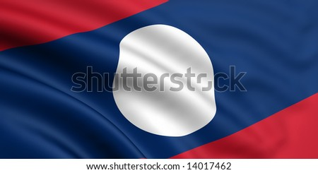 3d rendered and waving flag of laos - stock photo