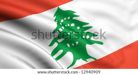 3d rendered and waving flag of lebanon - stock photo