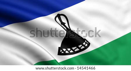 3d rendered and waving flag of lesotho - stock photo