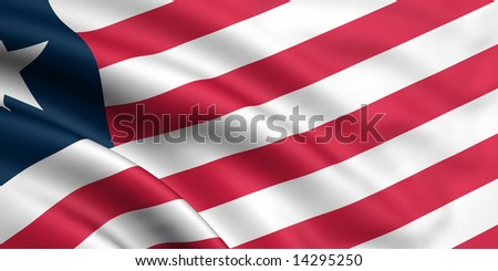 3d rendered and waving flag of liberia - stock photo