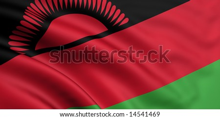 3d rendered and waving flag of malawi - stock photo