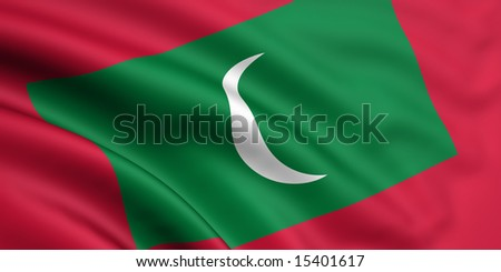 3d rendered and waving flag of maldives - stock photo