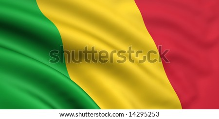 3d rendered and waving flag of mali - stock photo