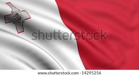 3d rendered and waving flag of malta - stock photo
