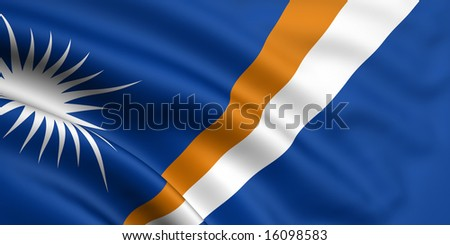 3d rendered and waving flag of marshall islands - stock photo