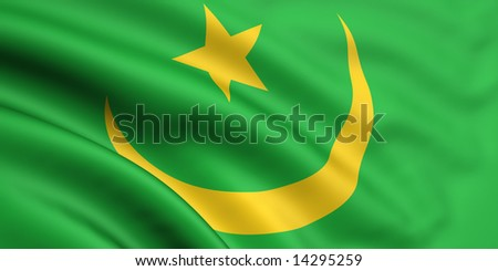 3d rendered and waving flag of mauritania - stock photo