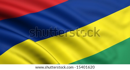 3d rendered and waving flag of mauritius - stock photo