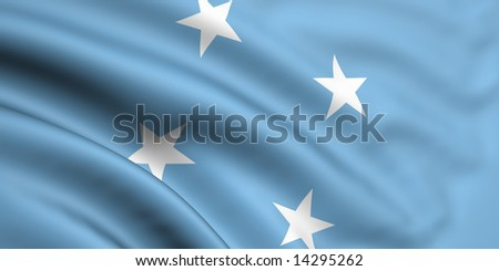 3d rendered and waving flag of micronesia - stock photo