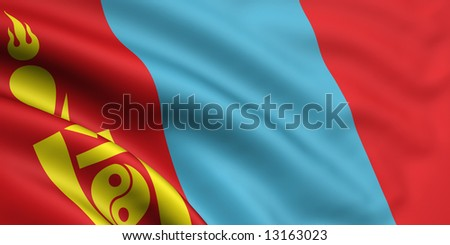 3d rendered and waving flag of mongolia - stock photo