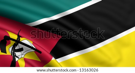 3d rendered and waving flag of mozambique - stock photo