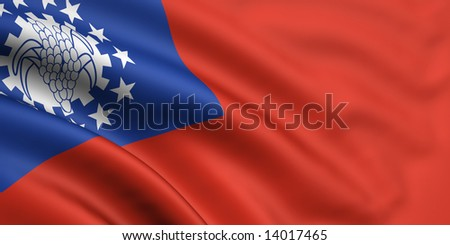 3d rendered and waving flag of myanmar - stock photo
