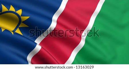 3d rendered and waving flag of namibia - stock photo