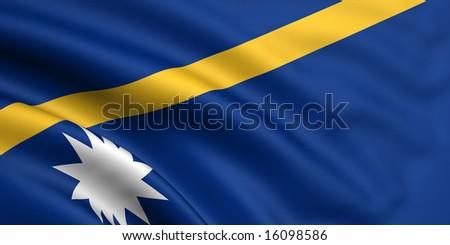 3d rendered and waving flag of nauru - stock photo
