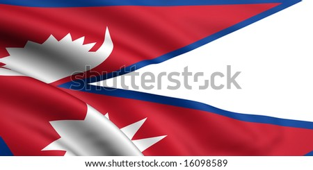 3d rendered and waving flag of nepal - stock photo