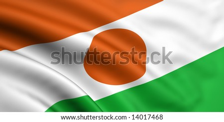 3d rendered and waving flag of niger - stock photo