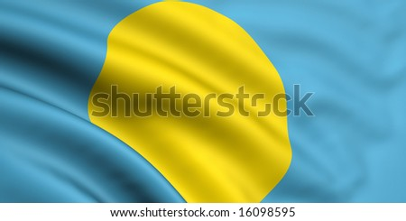 3d rendered and waving flag of palau - stock photo