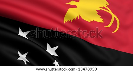 3d rendered and waving flag of papua new guinea - stock photo