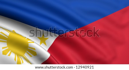 3d rendered and waving flag of philippines - stock photo