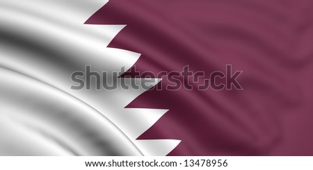 3d rendered and waving flag of qatar - stock photo
