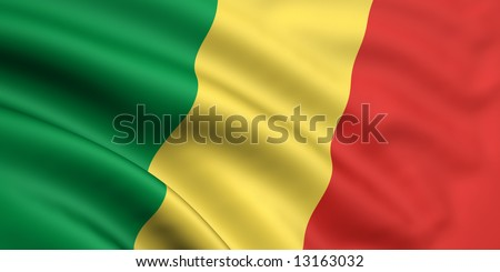 3d rendered and waving flag of republic of the congo - stock photo