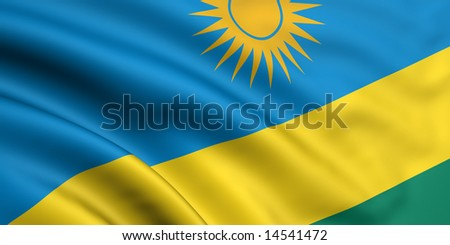 3d rendered and waving flag of rwanda - stock photo