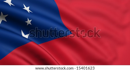 3d rendered and waving flag of samoa - stock photo