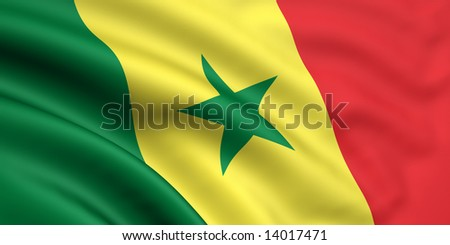 3d rendered and waving flag of senegal - stock photo