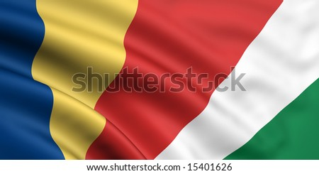 3d rendered and waving flag of seychelles - stock photo