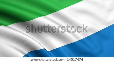 3d rendered and waving flag of sierra leone - stock photo