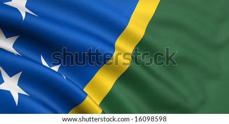 3d rendered and waving flag of solomon islands - stock photo