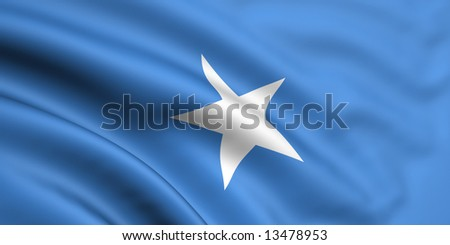 3d rendered and waving flag of somalia - stock photo