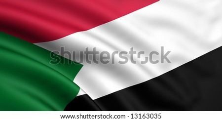 3d rendered and waving flag of sudan - stock photo
