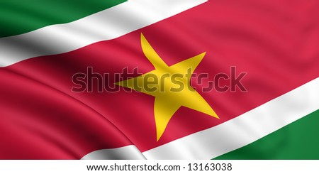 3d rendered and waving flag of suriname - stock photo