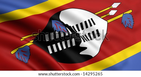 3d rendered and waving flag of swaziland - stock photo