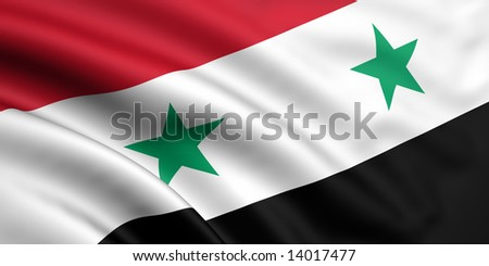 3d rendered and waving flag of syria - stock photo