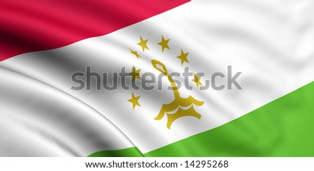 3d rendered and waving flag of tajikistan - stock photo