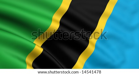 3d rendered and waving flag of tanzania - stock photo