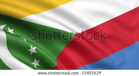 3d rendered and waving flag of the comoros - stock photo