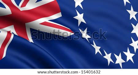 3d rendered and waving flag of the cook islands - stock photo