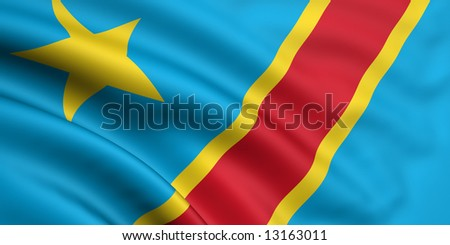 3d rendered and waving flag of the democratic republic of the congo - stock photo