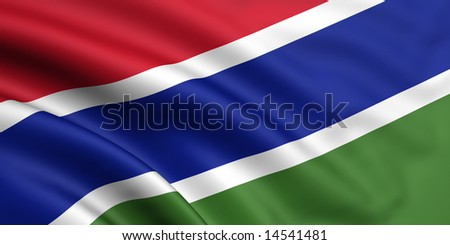3d rendered and waving flag of the gambia - stock photo