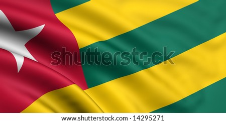 3d rendered and waving flag of togo - stock photo