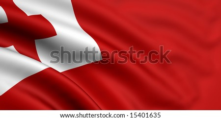 3d rendered and waving flag of tonga - stock photo